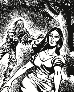 784351 © Free On French Dark Haired Woman Being Chased by Zombie