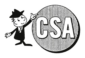T22807 © Free On French Man Pointing to Circle CSA Sign