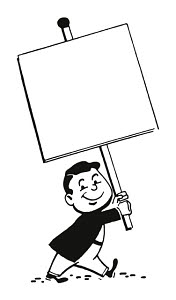 T25792 © Free On French Man Carrying Blank Sign on Stick
