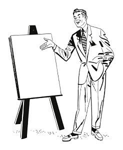 T82017 © Free On French Man Giving Presentation and Pointing to Blank Paper on Easel