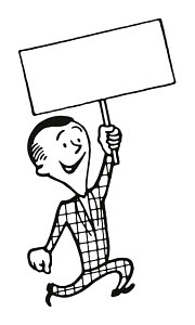 T89137 © Free On French Man Holding up Blank Sign on a Stick