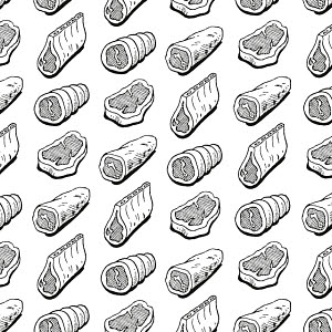 780315C © Free On French Assorted Meats Pattern